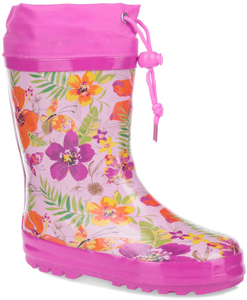 Сапоги резиновые для девочки. W5534W5534Утепленные резиновые сапожки Flamingo для девочек - идеальная обувь в дождливую погоду. Сапоги выполнены из качественной резины и оформлены по верху красочными цветочными изображениями. Верх голенища дополнен вставкой из текстиля и шнурком с фиксатором, который надежно зафиксирует модель на ноге и отрегулирует объем. Подкладка, изготовленная из шерсти, и стелька из ЭВА материала с верхним покрытием из шерсти защитят ножки ребенка от холода и обеспечат уют. Задник декорирован логотипом бренда. Подошва из резины оснащена рифлением для лучшей сцепки с поверхностью. Яркие резиновые сапоги поднимут вам и вашему ребенку настроение в дождливую погоду!