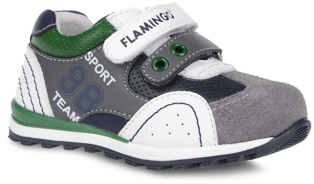 Кроссовки для мальчика. 61-XP1261-XP121Стильные кроссовки от Flamingo придутся по душе вашему ребенку! Модель, выполненная из комбинации натуральной и искусственной кожи, декорирована принтовыми надписями. Подкладка, изготовленная из натуральной кожи, обеспечивает дополнительный комфорт и предотвращает натирание. Стелька с супинатором, выполненная из натуральной кожи, обеспечивает максимальную устойчивость ноги при ходьбе и правильное формирование стопы. Ремешки на застежке-липучке, декорированные символикой бренда, помогают оптимально подогнать полноту обуви по ноге и гарантируют надежную фиксацию. Благодаря такой застежке ребенок может самостоятельно надевать обувь. Прочная подошва, выполненная из полимерного термопластичного материала, оснащена рифлением для лучшего сцепления с поверхностью. Чудесные кроссовки займут достойное место в гардеробе вашего ребенка.