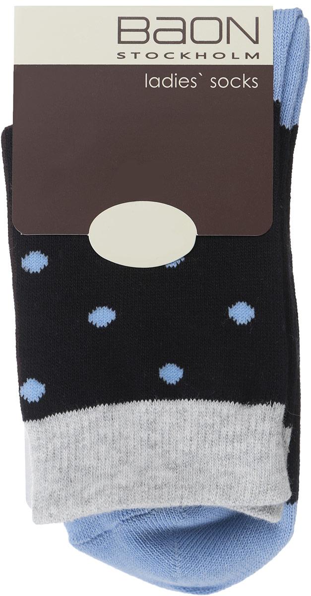 Носки женские. B396012B396012_SILVER MELANGEЖенские носки Baon, выполненные из хлопка и полиэстера, очень мягкие и приятные на ощупь, позволяют коже дышать, обеспечивая комфорт. Модель выполнена с усиленной пяткой и мыском, что обеспечивает ее прочность и износостойкость. Резинка плотно облегает ногу, не сдавливая ее, благодаря чему вам будет комфортно и удобно. Изделие оформлено принтом горох.