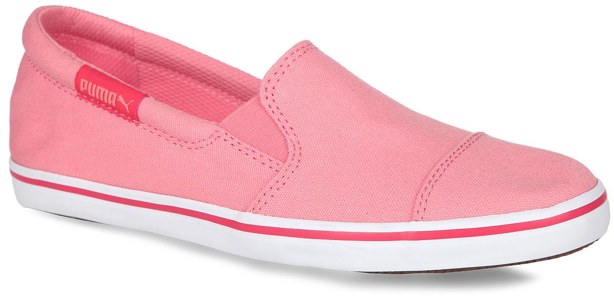 35994501Легкие женские слипоны Elsu v2 Slip On от Puma покорят вас с первого взгляда! Модель изготовлена из текстильного материала по принципу кед. Обувь оформлена фирменной нашивкой. Резинки, расположенные на подъеме, гарантируют идеальную посадку модели на вашей ноге. Мягкая стелька из EVA с покрытием из текстиля обеспечивает комфорт и удобство при ходьбе. Гибкая подошва, дополненная рифлением, обеспечивает хорошее сцепление с любой поверхностью. Слипоны прекрасно сидят на ноге, их легко надеть и снять – словом, это идеальный выбор для тех, кому нужна современная обувь, отвечающая принципу надел и пошёл!