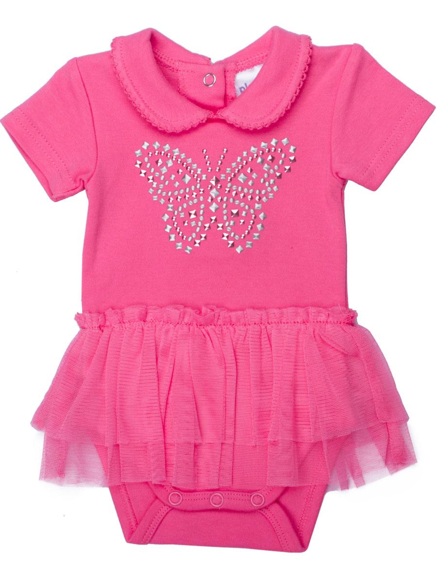 Боди-футболка для девочки Baby. 168804168804Яркое боди для девочки PlayToday Baby идеально подойдет для маленькой принцессы. Изделие выполнено из натурального хлопка, очень мягкое и приятное на ощупь, не сковывает движения и позволяет коже дышать, обеспечивая наибольший комфорт. Боди-футболка с отложным воротником и короткими рукавами имеет застежки-кнопки по спинке и на ластовице, что позволит легко переодеть малышку или сменить подгузник. Край воротника оформлен ажурными петельками. На талии модель дополнена двойной оборкой из мягкой микросетки, имитирующей юбочку. Боди декорировано аппликацией в виде бабочки из металлизированных пайеток. В таком боди вашей маленькой моднице будет очень удобно и комфортно, и она всегда будет в центре внимания!