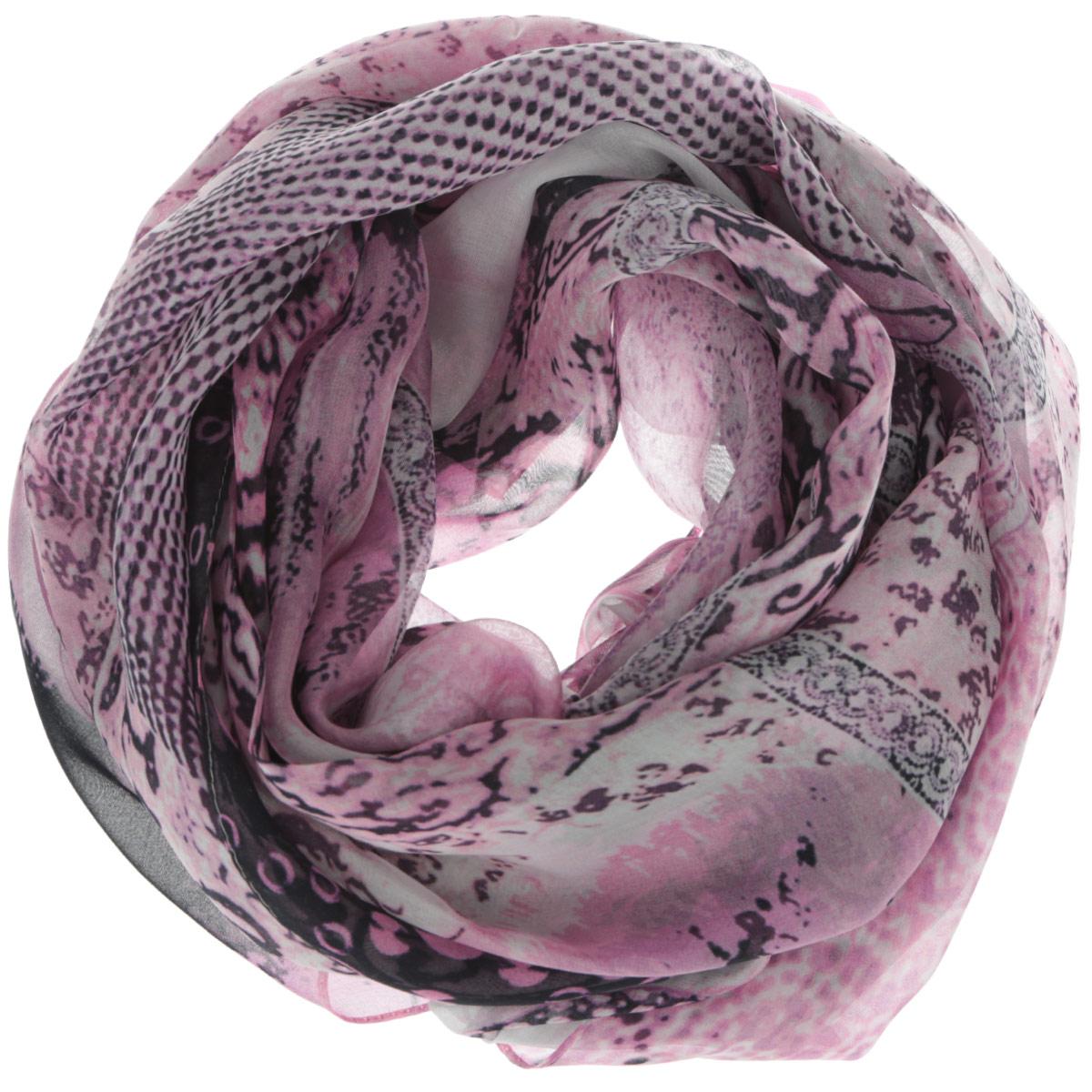 Шарф женский. 201509222201509222Женский шарф Leo Ventoni позволит вам создать неповторимый и запоминающийся образ. Изготовленный из высококачественного шелка, он очень легкий, мягкий, имеет приятную на ощупь текстуру. Модель оформлена ярким принтом. Такой аксессуар станет модным дополнением к гардеробу современной женщины, стремящейся всегда оставаться стильной и элегантной.