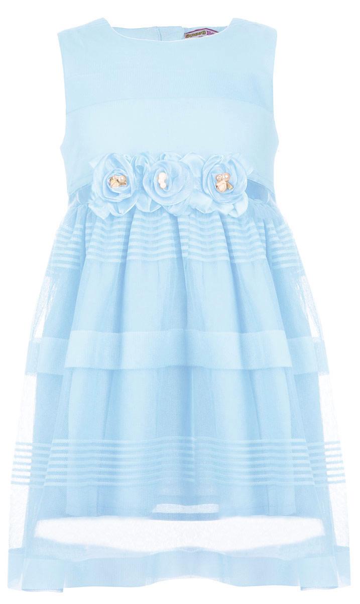 Платье для девочки. 195917/195918195917Нарядное платье для девочки Sweet Berry идеально подойдет для маленькой принцессы. Изготовленное из шифона на хлопковой подкладке, оно очень легкое, приятное на ощупь. Изделие не сковывает движения и хорошо пропускает воздух. Платье с круглым вырезом горловины застегивается сзади на скрытую молнию. От линии талии заложены мелкие складки, придающие изделию пышность. Пояс дополнен атласной лентой, которая сзади завязывается на бант. Модель украшена съемными декоративными цветами с бусинами. В таком платье маленькая леди всегда будет в центре внимания!