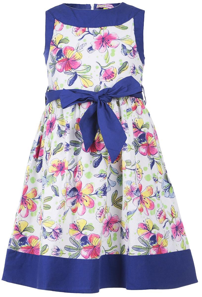 Платье для девочки. 195479 - Sweet Berry195479Красивое платье для девочки Sweet Berry идеально подойдет для маленькой принцессы. Изготовленное из натурального хлопка, оно мягкое и приятное на ощупь, не сковывает движения и позволяет коже дышать, обеспечивая комфорт. Платье приталенного силуэта с круглым вырезом горловины застегивается сзади на скрытую молнию. От линии талии заложены мелкие складки, придающие изделию пышность. На поясе предусмотрены шлевки для ремня. Модель оформлена цветочным принтом. В таком платье маленькая леди всегда будет в центре внимания! В комплект входит текстильный поясок.