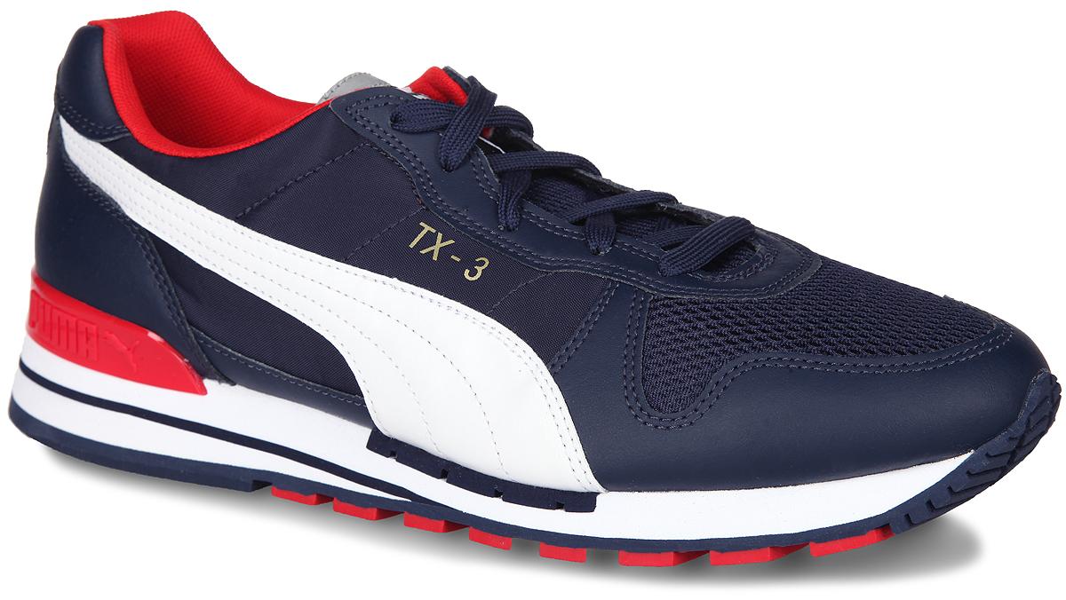 Кроссовки мужские TX-3 up. 3605490236054902Стильные мужские кроссовки TX-3 up от Puma - это легкость и свобода движения. Модель, выполненная из натуральной кожи с вставками из текстиля и накладками из искусственной кожи. Подкладка выполнена из текстиля. Стелька изготовлена из ЭВА с текстильной поверхностью. Расположенная по центру шнуровка в сочетании с удобной колодкой обеспечивают идеальную фиксацию. Промежуточная подошва из ЭВА обеспечивает хорошую амортизацию и облегчает вес обуви. Износостойкая рифленая подошва из резины обеспечивает идеальное сцепление с любыми поверхностями. На язычке, на заднике и сбоку изделие оформлено фирменным логотипом. Удобные кроссовки - выбор истинных ценителей активного образа жизни.