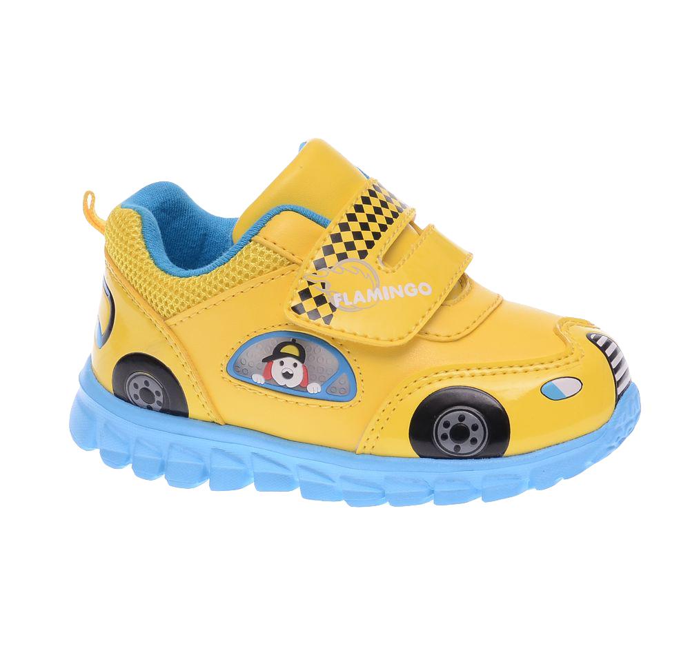 61-NK104Ультрамодные кроссовки от Flamingo покорят вашего мальчика с первого взгляда! Модель выполнена из искусственной кожи разной фактуры и дополнена по канту вставкой из текстиля. Ремешок на застежке-липучке надежно зафиксирует изделие на ножке ребенка. Верх обуви оформлен изображениями, имитирующими модель машинки, ремешок - оригинальным принтом и названием бренда. Подкладка, изготовленная из хлопка, предотвратит натирание и гарантирует уют. Стелька из EVA-материала с верхним покрытием из натуральной кожи дополнена супинатором, который обеспечивает правильное положение ноги ребенка при ходьбе, предотвращает плоскостопие. Легкая подошва из EVA-материала оснащена рифлением для лучшей сцепки с поверхностью. При движении расположенная сбоку декоративная вставка из ПВХ в виде окна, из которого выглядывает собачка, начинает светиться, благодаря чему ваш ребенок будет на виду даже в темное время суток. Яркая и комфортная обувь порадует юных модников.