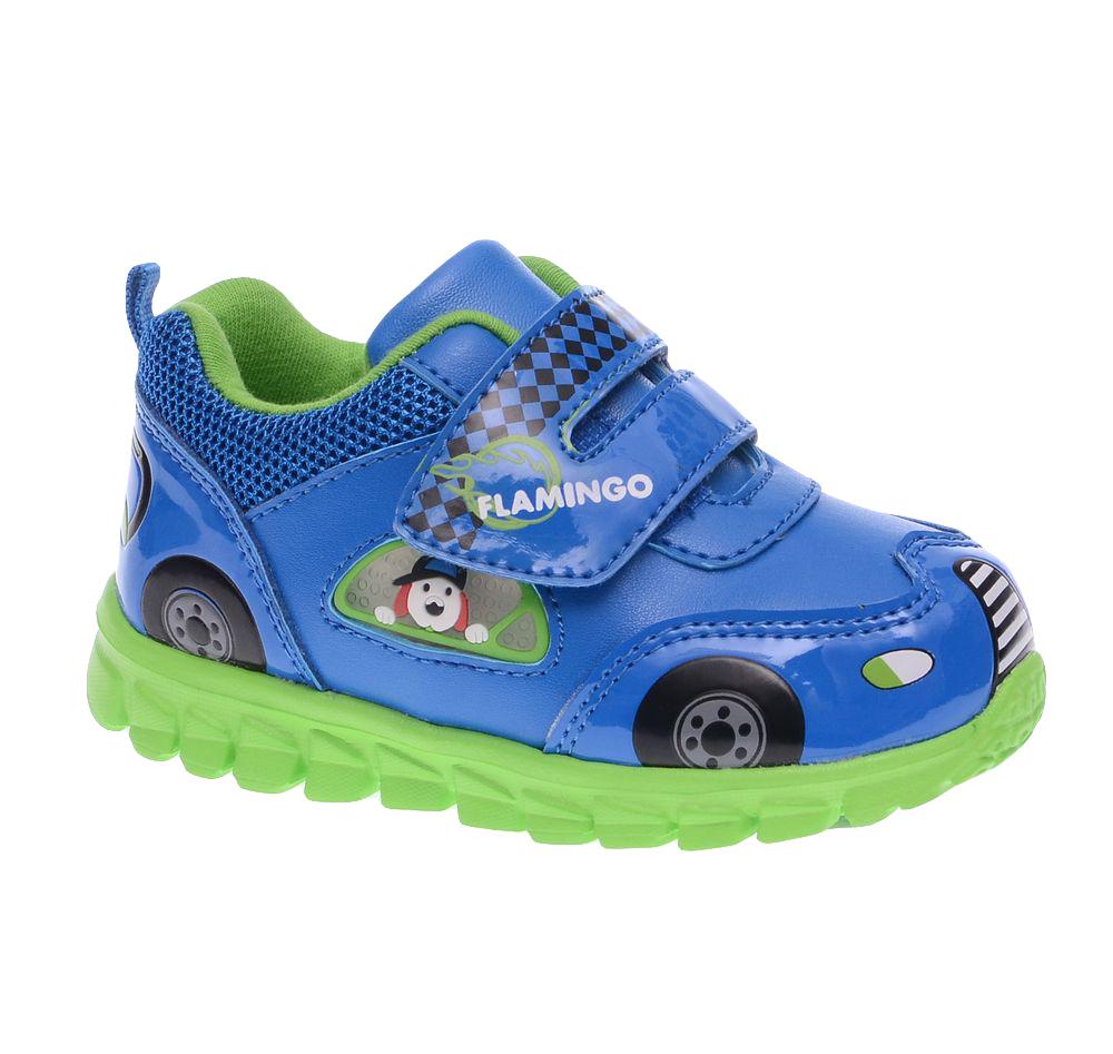 Кроссовки61-NK104Ультрамодные кроссовки от Flamingo покорят вашего мальчика с первого взгляда! Модель выполнена из искусственной кожи разной фактуры и дополнена по канту вставкой из текстиля. Ремешок на застежке-липучке надежно зафиксирует изделие на ножке ребенка. Верх обуви оформлен изображениями, имитирующими модель машинки, ремешок - оригинальным принтом и названием бренда. Подкладка, изготовленная из хлопка, предотвратит натирание и гарантирует уют. Стелька из EVA-материала с верхним покрытием из натуральной кожи дополнена супинатором, который обеспечивает правильное положение ноги ребенка при ходьбе, предотвращает плоскостопие. Легкая подошва из EVA-материала оснащена рифлением для лучшей сцепки с поверхностью. При движении расположенная сбоку декоративная вставка из ПВХ в виде окна, из которого выглядывает собачка, начинает светиться, благодаря чему ваш ребенок будет на виду даже в темное время суток. Яркая и комфортная обувь порадует юных модников.
