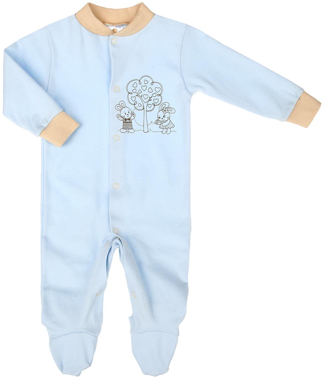 Комбинезон домашний3689Детский комбинезон КотМарКот полностью соответствует особенностям жизни младенца в ранний период, не стесняя и не ограничивая его в движениях. Выполненный из мягкого натурального хлопка, он очень приятный на ощупь, не раздражает нежную и чувствительную кожу ребенка, позволяя ей дышать. Комбинезон с круглым вырезом горловины, длинными рукавами и закрытыми ножками имеет застежки-кнопки спереди и на ластовице, которые помогают легко переодеть младенца или сменить подгузник. Низ рукавов дополнен мягкими широкими манжетами, бережно обхватывающими запястья малыша. Спереди модель украшена принтом с изображением очаровательных зайчат под деревом. Такой комбинезон полностью соответствуют особенностям жизни малыша в ранний период, не стесняя и не ограничивая его в движениях, и прекрасно подойдет для активных игр и сна.