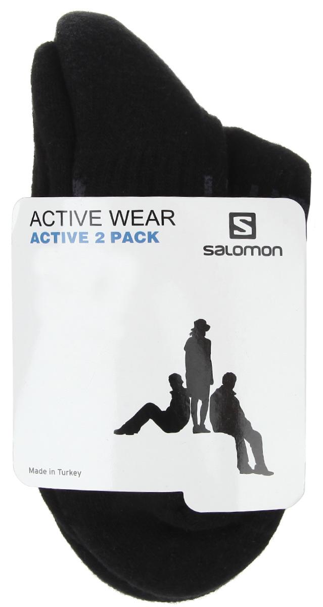 Носки унисекс Active, 2 парыL35159200Удобные укороченные носки Salomon Active, изготовленные из высококачественного комбинированного материала, идеально подойдут для занятия спортом и фитнесом. Благодаря содержанию мягкого хлопка в составе, кожа сможет дышать, а эластан позволяет носочкам легко тянуться, что делает их комфортными в носке. Эластичная резинка плотно облегает ногу, не сдавливая ее, обеспечивая комфорт и удобство. Практичные и комфортные носки с укрепленным мыском и пяткой великолепно подойдут к вашей спортивной и повседневной обуви.
