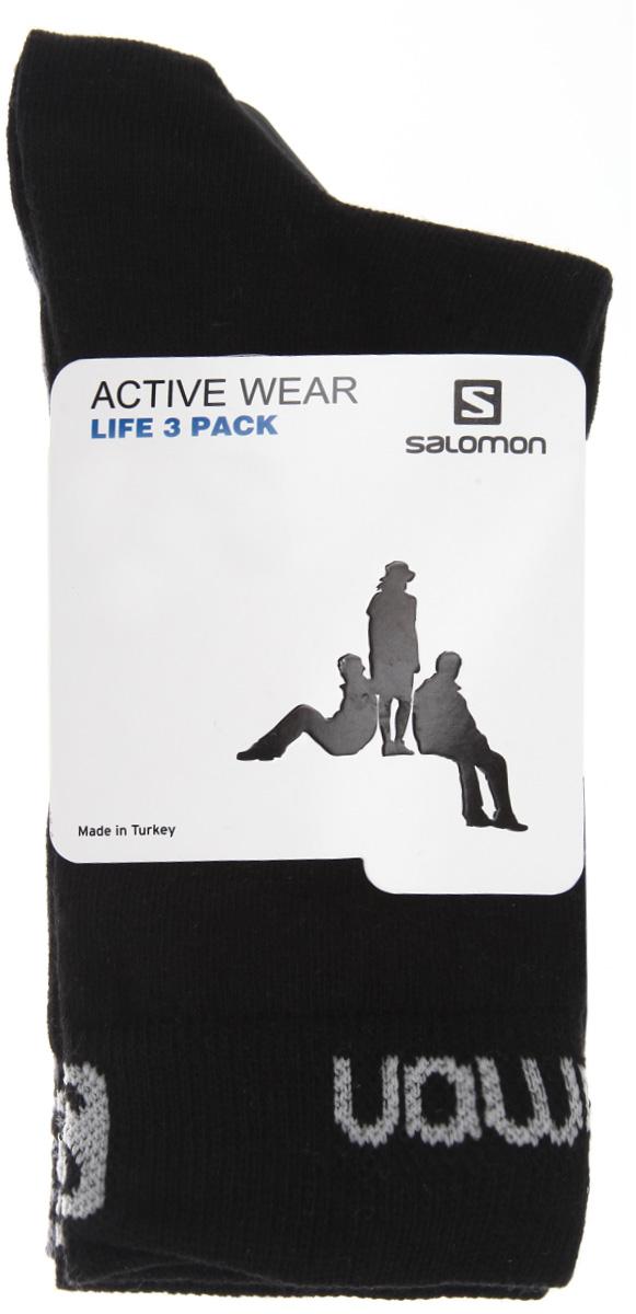 Носки унисекс Life, 3 парыL37220700Удобные удлиненные носки Salomon Life, изготовленные из высококачественного комбинированного материала, идеально подойдут для занятия спортом и фитнесом. Благодаря содержанию мягкого хлопка в составе, кожа сможет дышать, а эластан позволяет носочкам легко тянуться, что делает их комфортными в носке. Эластичная резинка плотно облегает ногу, не сдавливая ее, обеспечивая комфорт и удобство. Плоский шов мыска и эластичная поддержка свода стопы и голеностопа создадут идеальные условия для активных спортивных упражнений. Практичные и комфортные носки с укрепленным мыском и пяткой великолепно подойдут к вашей спортивной и повседневной обуви. В комплект входят 3 пары носков.