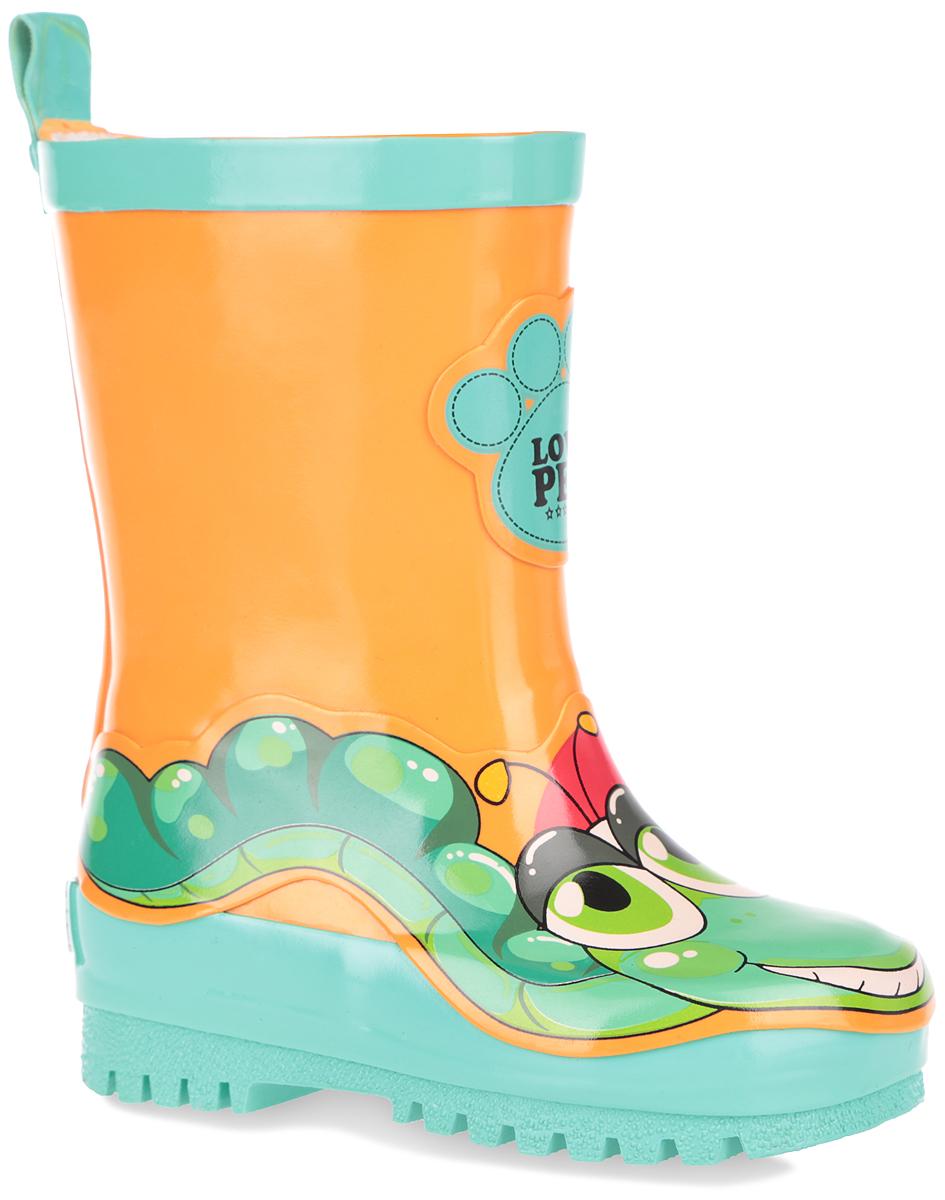 Сапоги резиновые детские. 101503101503Прелестные резиновые сапоги от Bebendorff - идеальная обувь в дождливую погоду. Сапоги, выполненные из резины, оформлены изображением гусеницы, декоративной накладкой, на заднике - названием бренда. Внутренняя поверхность из хлопка и съемная стелька из EVA с текстильной поверхностью комфортны при ходьбе. Ярлычок на заднике облегчает обувание модели. Подошва с протектором гарантируют отличное сцепление с любой поверхностью. Резиновые сапоги прекрасно защитят ноги вашего ребенка от промокания в дождливый день.