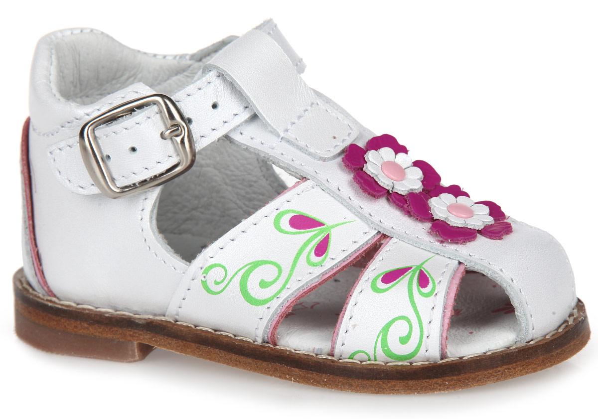 022056-21Чудесные сандалии от Котофей разработаны специально для первых шагов вашей девочки! Модель, выполненная натуральной кожи, оформлена композицией из декоративных цветков и ярким узором. Внутренняя поверхность и стелька из натуральной кожи гарантируют максимальный комфорт при движении, предотвращая натирание ноги. Стелька дополнена супинатором с перфорацией, который обеспечивает правильное положение ноги ребенка при ходьбе, предотвращает плоскостопие. Вдоль ранта модель оформлена крупной прострочкой. Высокий жесткий задник и ремешок с металлической пряжкой надежно зафиксируют модель на ноге. Кожаная подошва дополнена невысоким каблучком с рифлением. В зоне пучков на подошву нанесены противоскользящие вставки. Удобные сандалии - незаменимая вещь в гардеробе каждой девочки.
