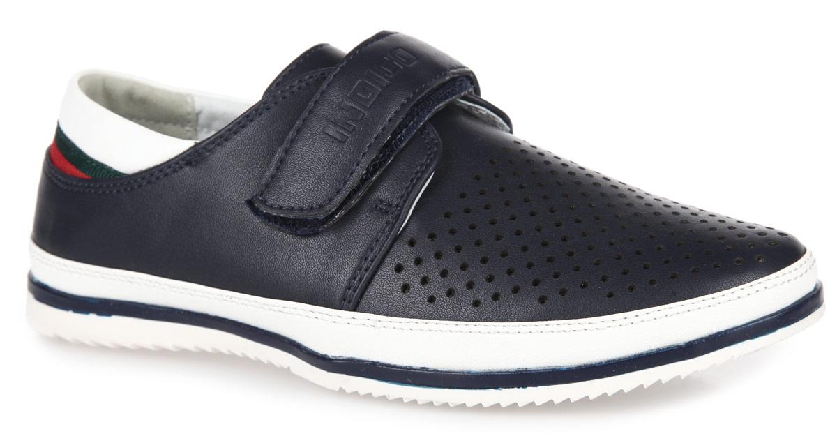Полуботинки для мальчика. 40-041A/1240-041A/12Стильные полуботинки для мальчика от Indigo Kids выполнены из искусственной кожи. Модель дополнена перфорацией на подъеме. Ремешок на застежке-липучке, декорированный тиснением в виде названия бренда, помогает оптимально подогнать полноту обуви по ноге и гарантирует надежную фиксацию. Благодаря такой застежке ребенок может самостоятельно надевать обувь. Подкладка, изготовленная из натуральной кожи, обеспечивает дополнительный комфорт и предотвращает натирание. Стелька изготовлена из ЭВА материала с верхним покрытием из натуральной кожи. Прочная подошва, выполненная из полимерного термопластичного материала, оснащена рифлением для лучшего сцепления с поверхностью. Чудесные полуботинки займут достойное место в гардеробе вашего ребенка.