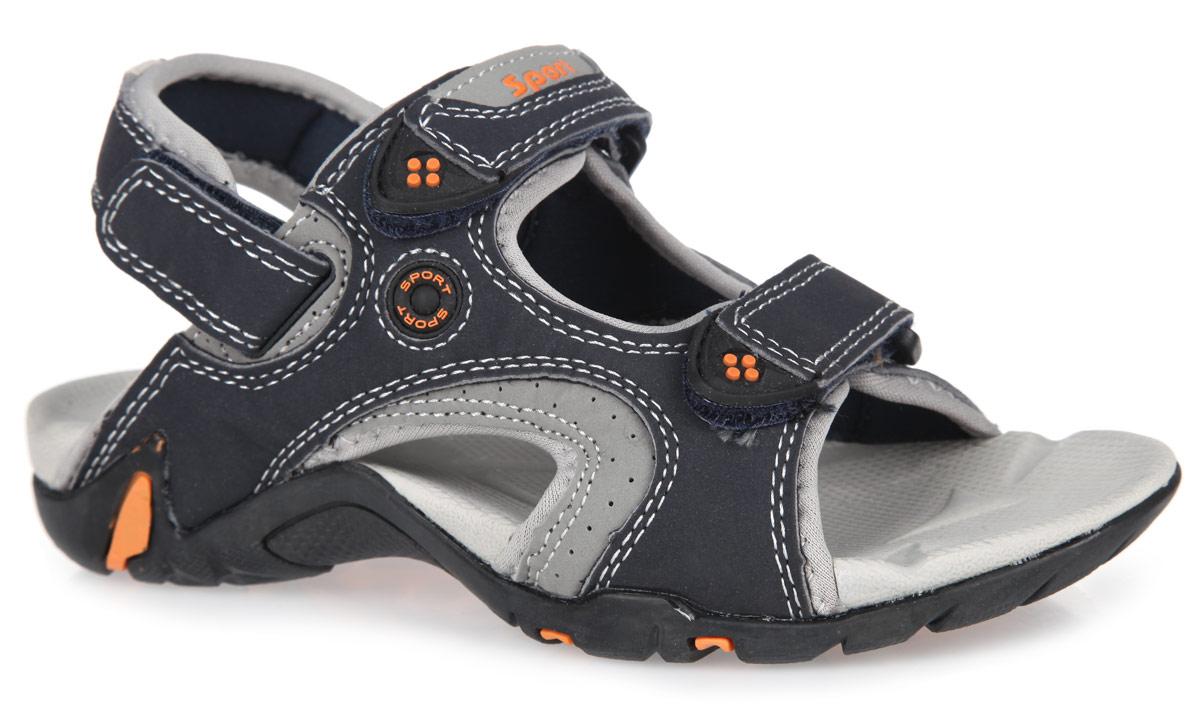 Сандалии для мальчика. 8403484034-1Удобные сандалии от Kapika не оставят равнодушным вашего мальчика! Модель изготовлена из искусственной кожи и оформлена контрастными вставками с перфорацией и модной фурнитурой из резины. Ремешки с застежками-липучками прочно закрепят модель на ножке. Внутренняя поверхность обуви выполнена из текстиля. Рельефная стелька из EVA комфортна при ходьбе. Пяточная часть оснащена регулируемым ремешком на застежке-липучке. Максимально комфортная подошва с протектором, изготовленная из резины, обеспечивает отличное сцепление с поверхностью. Практичные и стильные сандалии займут достойное место в гардеробе вашего малыша.