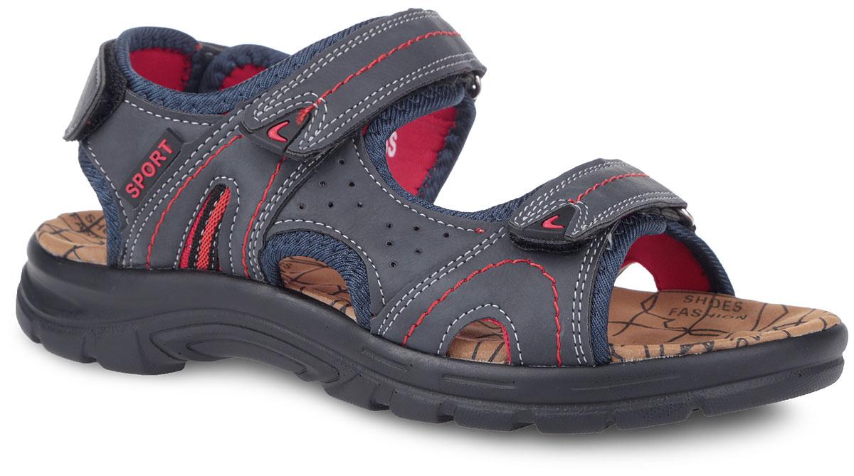Сандалии. 735-116T-16s-01/8-16735-116T-16s-01/8-16Оригинальные сандалии от Patrol займут достойное место в вашем гардеробе. Модель выполнена из комбинации искусственной кожи и текстиля. Ремешок в области пятки и два ремешка на подъеме с застежками-липучками прочно закрепят обувь на ноге. Подкладка, изготовленная из текстиля, гарантирует дополнительный комфорт и предотвращает натирание. Стелька из текстиля оснащена рельефной поверхностью и оформлена принтом. Сбоку обувь декорирована легкой перфорацией. Ремешки на подъеме дополнены вставками из ПВХ. Подошва оснащена рифлением для лучшей сцепки с поверхностью. Модные сандалии заинтересуют вас с первого взгляда.