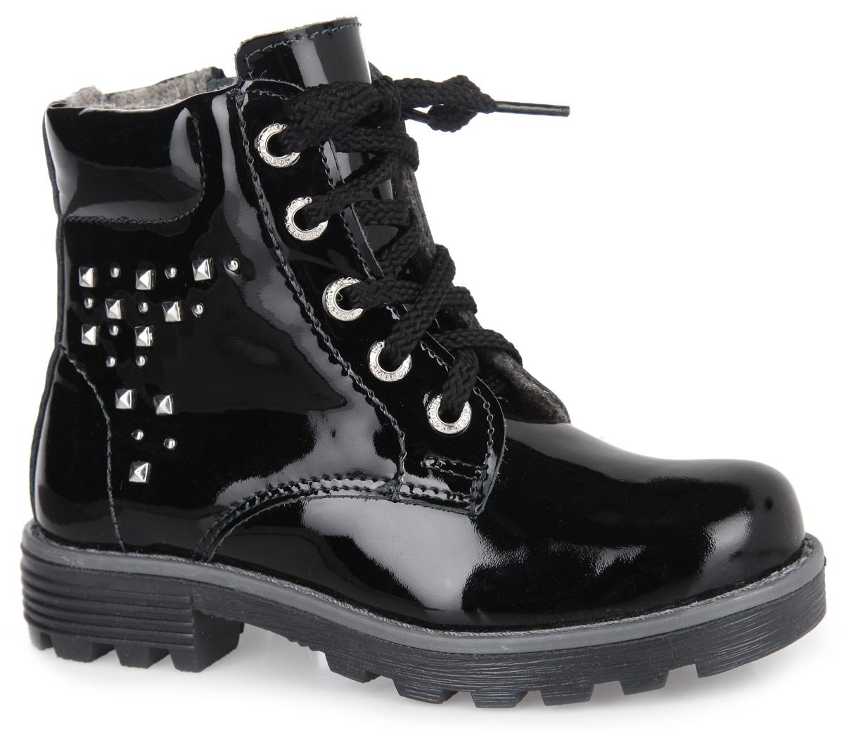 552043-32Стильные ботинки от Котофей придутся по душе вашей девочке. Модель, выполненная из натуральной лакированной кожи, оформлена вдоль ранта крупной прострочкой, сбоку - металлическими заклепками. Подкладка и стелька из байки не дадут ногам замерзнуть. Удобная боковая застежка-молния позволяет легко обувать и снимать ботинки, а функциональная шнуровка обеспечит идеальную фиксацию обуви на ноге. Подошва и каблук с протектором гарантируют оптимальное сцепление с поверхностью. Удобная колодка обеспечивает комфорт во время долгих осенних прогулок.