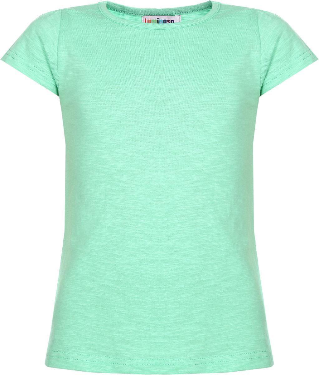 Футболка195857Очаровательная футболка для девочки Luminoso идеально подойдет вашей доченьке. Изготовленная из натурального хлопка, она необычайно мягкая и приятная на ощупь, не сковывает движения и позволяет коже дышать, не раздражает даже самую нежную и чувствительную кожу ребенка, обеспечивая ему наибольший комфорт. Футболка с короткими рукавами и круглым вырезом горловины выполнена трапециевидным кроем. Рукава по линии плеча дополнены сборкой. Оригинальный современный дизайн и расцветка делают эту футболку модным и стильным предметом детского гардероба. В ней ваша юная модница будет чувствовать себя уютно и комфортно и всегда будет в центре внимания!