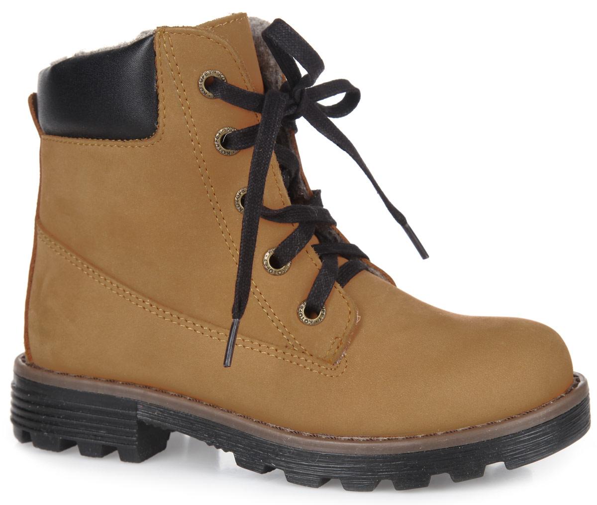 Ботинки для мальчика. 652046-32652046-32Стильные ботинки от Котофей придутся по душе вашему мальчику. Модель выполнена из натуральной кожи с гидрофобной пропиткой, обладающей водоотталкивающим эффектом. Вдоль ранта модель оформлена крупной прострочкой. Подкладка и стелька из байки с 80% содержанием шерсти, не дадут ногам замерзнуть. Удобная боковая застежка-молния позволяет легко обувать и снимать ботинки, а функциональная шнуровка обеспечит идеальную фиксацию обуви на ноге. Подошва и каблук с протектором обеспечивают оптимальное сцепление с поверхностью. Модные ботинки займут достойное место в гардеробе вашего ребенка.