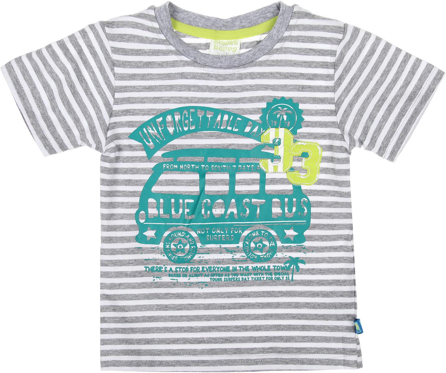 Футболка для мальчика. 196140196140Оригинальная футболка для мальчика Sweet Berry идеально подойдет вашему маленькому непоседе. Изготовленная из хлопка с небольшим добавлением эластана, она необычайно мягкая и приятная на ощупь, не сковывает движения и позволяет коже дышать, не раздражает даже самую нежную и чувствительную кожу ребенка, обеспечивая ему наибольший комфорт. Футболка с круглым вырезом горловины оформлена принтом в полоску и термоаппликацией. Вырез горловины дополнен трикотажной эластичной резинкой. Современный дизайн и расцветка делают эту футболку стильным предметом детского гардероба. В ней ваш ребенок будет чувствовать себя уютно и комфортно и всегда будет в центре внимания!