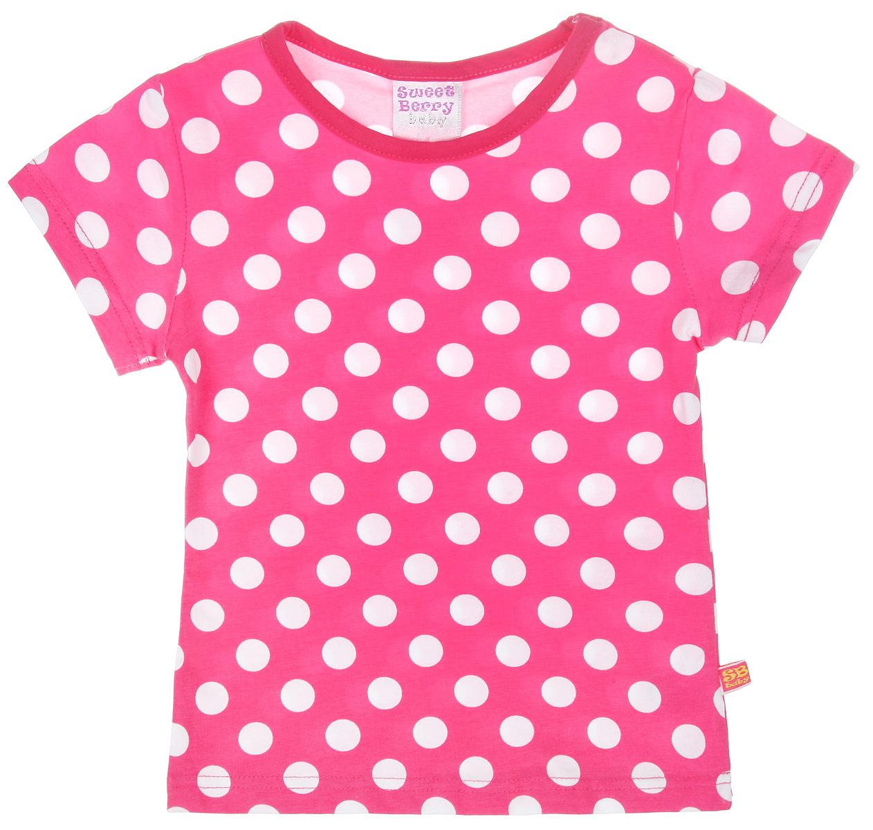 Футболка для девочки. 195217195217Очаровательная футболка для девочки Sweet Berry идеально подойдет вашей дочурке. Изготовленная из хлопка с небольшим добавлением эластана, она необычайно мягкая и приятная на ощупь, не сковывает движения и позволяет коже дышать, не раздражает даже самую нежную и чувствительную кожу ребенка, обеспечивая ему наибольший комфорт. Яркая футболка трапециевидного кроя с круглым вырезом горловины оформлена принтом горох. Вырез горловины обработан трикотажной окантовкой. Оригинальный современный дизайн и расцветка делают эту футболку модным и стильным предметом детского гардероба. В ней ваша маленькая принцесса будет чувствовать себя уютно и комфортно и всегда будет в центре внимания!