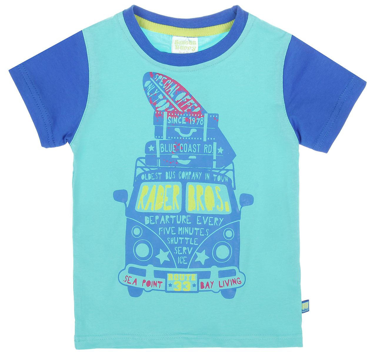 Футболка для мальчика. 196143196143Яркая футболка для мальчика Sweet Berry идеально подойдет вашему маленькому непоседе. Изготовленная из хлопка с небольшим добавлением эластана, она необычайно мягкая и приятная на ощупь, не сковывает движения и позволяет коже дышать, не раздражает даже самую нежную и чувствительную кожу ребенка, обеспечивая ему наибольший комфорт. Футболка с круглым вырезом горловины оформлена термоаппликацией с английскими надписями. Рукава выполнены из контрастного материала. Вырез горловины дополнен контрастной трикотажной эластичной резинкой. Современный дизайн и расцветка делают эту футболку стильным предметом детского гардероба. В ней ваш ребенок будет чувствовать себя уютно и комфортно и всегда будет в центре внимания!