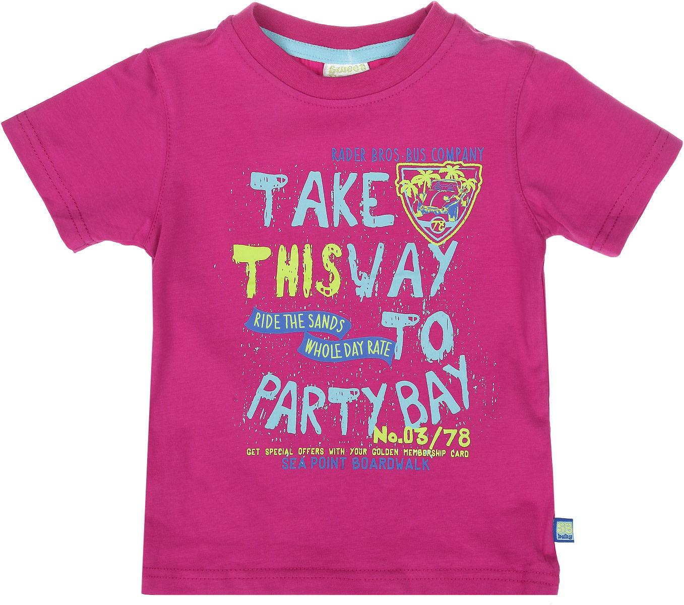 Футболка для мальчика. 196142196142Яркая футболка для мальчика Sweet Berry идеально подойдет вашему маленькому непоседе. Изготовленная из хлопка с небольшим добавлением эластана, она необычайно мягкая и приятная на ощупь, не сковывает движения и позволяет коже дышать, не раздражает даже самую нежную и чувствительную кожу ребенка, обеспечивая ему наибольший комфорт. Футболка с круглым вырезом горловины оформлена модным принтом с надписями на английском языке. Вырез горловины дополнен трикотажной эластичной резинкой. Современный дизайн и расцветка делают эту футболку стильным предметом детского гардероба. В ней ваш ребенок будет чувствовать себя уютно и комфортно и всегда будет в центре внимания!