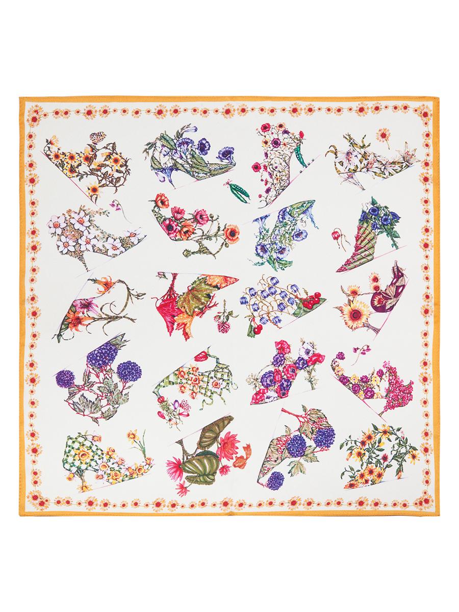 ПлатокSS03-7786Стильный женский платок Eleganzza станет великолепным завершением любого наряда. Платок изготовлен из высококачественного шелка и оформлен оригинальным цветочным принтом. Классическая квадратная форма позволяет носить платок на шее, украшать им прическу или декорировать сумочку. Такой платок превосходно дополнит любой наряд и подчеркнет ваш неповторимый вкус и элегантность.