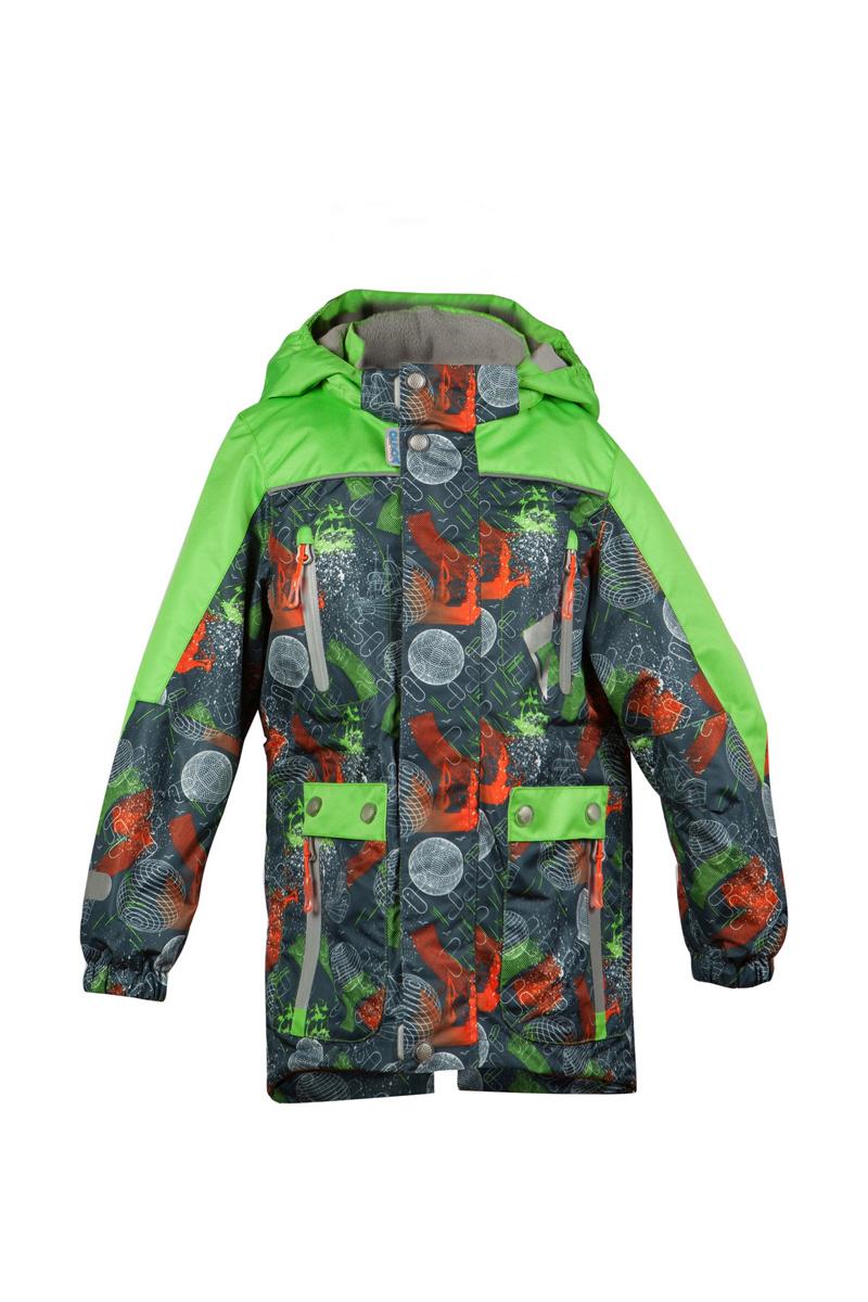 16/OA-3JK412Куртка для мальчика Oldos Active Мирон идеально подойдет для вашего ребенка в холодное время года. Куртка изготовлена из водонепроницаемой и ветрозащитной ткани. Водо- и грязеотталкивающее покрытие Teflon повышает износостойкость модели, что обеспечит ей хороший внешний вид на всем протяжении носки. Благодаря пропитке грязь не проникает в ткань, и ее легко смыть под струей воды или стереть влажной салфеткой. Нанесенная с изнаночной стороны ткани мембрана 3000/3000 позволяет дышать - отводит излишнюю влагу наружу, поддерживая комфортную для тела ребенка атмосферу. Куртка рассчитана на температуру от -5°С до +15°С. Куртка с капюшоном и небольшим воротником-стойкой застегивается на пластиковую застежку-молнию и дополнительно имеет двойную ветрозащитную планку и защиту подбородка. Внешний ветрозащитный клапан на застежках-кнопках и липучках. Подкладка курточки (кроме рукавов) выполнена из теплого мягкого флиса. Капюшон, присборенный по бокам на резинки,...