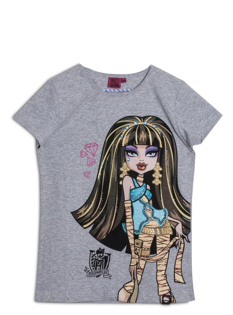 Футболка для девочки. ZG 02430-M2ZG 02430-M2Стильная футболка для девочки Monster High идеально подойдет вашей маленькой моднице. Изготовленная из натурального хлопка, она необычайно мягкая и приятная на ощупь, не сковывает движения ребенка и позволяет коже дышать, не раздражает даже самую нежную и чувствительную кожу, обеспечивая наибольший комфорт. Футболка трапециевидной формы с короткими рукавами и круглым вырезом горловины спереди оформлена оригинальным принтом с изображением персонажа мультфильма Monster High. По бокам снизу модель слегка присборена на резинки. Оригинальный современный дизайн и модная расцветка делают эту футболку модным и стильным предметом детского гардероба. В ней ваша малышка будет чувствовать себя уютно и комфортно, и всегда будет в центре внимания!