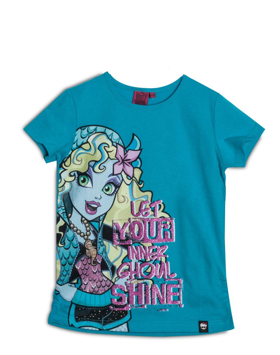 ZG 02426-S2Стильная футболка для девочки Monster High идеально подойдет вашей маленькой моднице. Изготовленная из натурального хлопка, она необычайно мягкая и приятная на ощупь, не сковывает движения ребенка и позволяет коже дышать, не раздражает даже самую нежную и чувствительную кожу, обеспечивая наибольший комфорт. Футболка трапециевидной формы с короткими рукавами и круглым вырезом горловины спереди оформлена оригинальным принтом с изображением персонажа мультфильма Monster High. Вырез горловины дополнен трикотажной эластичной резинкой. Оригинальный современный дизайн и модная расцветка делают эту футболку модным и стильным предметом детского гардероба. В ней ваша малышка будет чувствовать себя уютно и комфортно, и всегда будет в центре внимания!