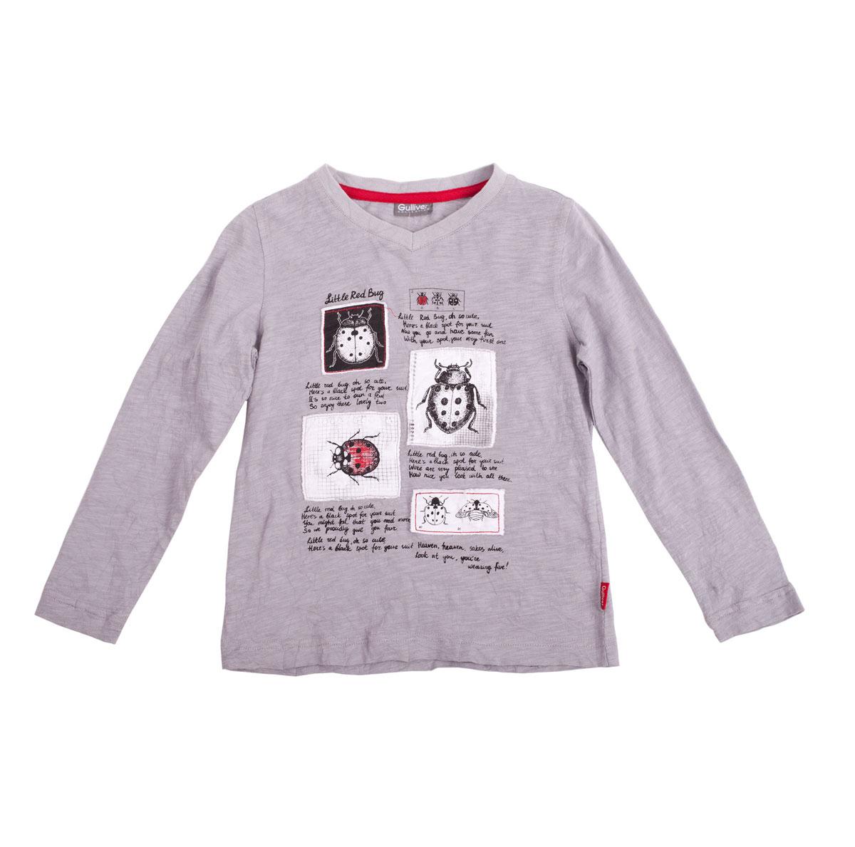 Лонгслив11603BMC1202Модная футболка с длинным рукавом для мальчика Gulliver Красный жук станет отличным дополнением к детскому гардеробу. Модель выполнена из натурального хлопка, очень мягкая и приятная на ощупь, не сковывает движения и позволяет коже дышать, обеспечивая наибольший комфорт. Футболка с V-образным вырезом горловины и длинными рукавами оформлена актуальным эффектом легкой потертости и состаренности. Вырез горловины дополнен трикотажной резинкой. Изделие украшено нашивками с изображением божьих коровок, а также принтовыми надписями. Дизайн и расцветка делают эту футболку стильным предметом детской одежды, она поможет создать отличный современный образ.