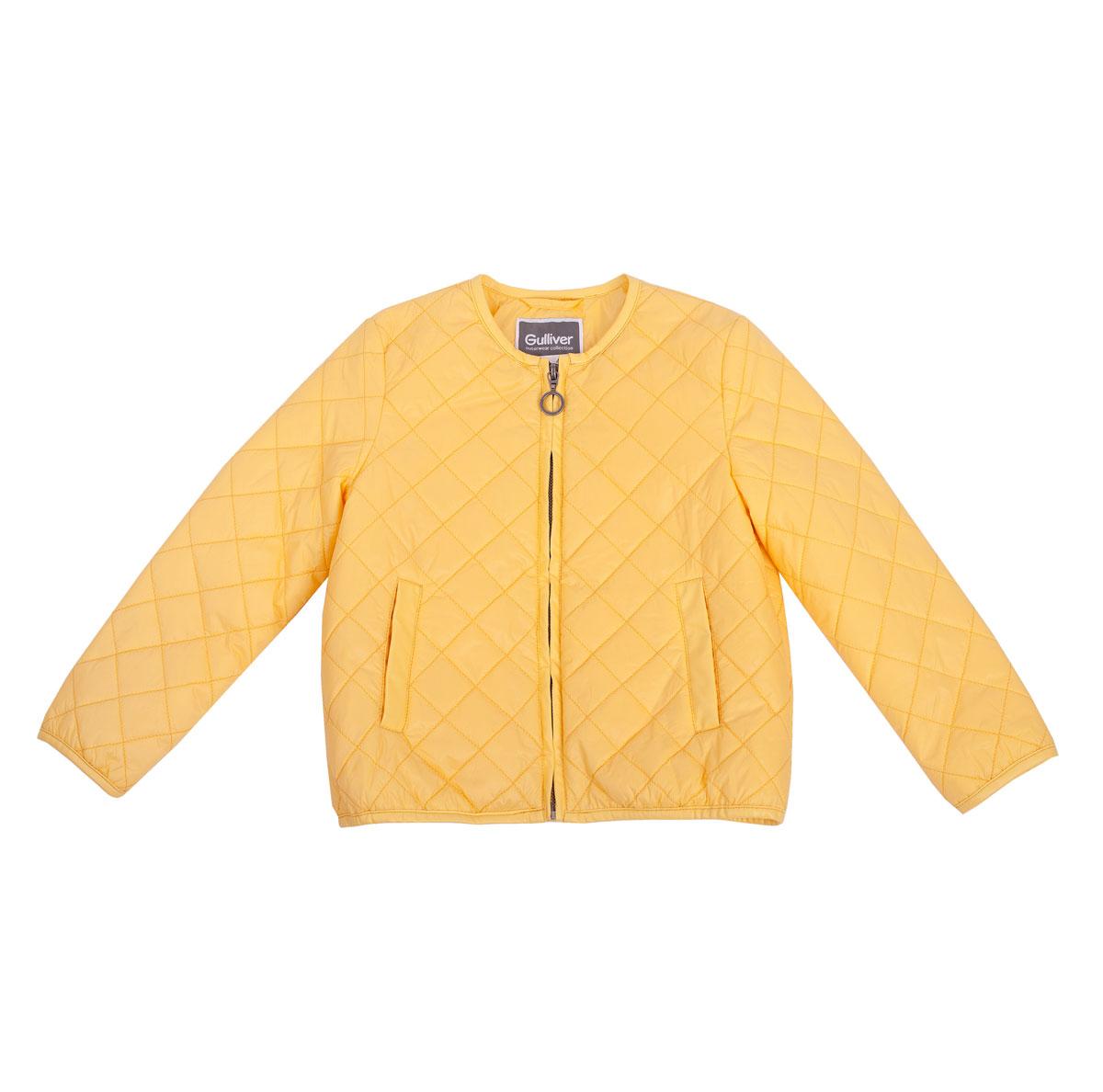 Куртка для девочки Голубая стрекоза. 11602GMC400311602GMC4003Яркая стеганая куртка для девочки Gulliver Голубая стрекоза идеально подойдет для ребенка в прохладную погоду. Модель изготовлена из нейлона. Текстильная подкладка со значительным содержанием хлопка создает комфорт и удобство в повседневной носке. В качестве утеплителя используется синтепон, который отлично сохраняет тепло. Куртка с круглым вырезом горловины застегивается на металлическую молнию. Спереди расположены два втачных кармана. Модный крой, укороченный прямой силуэт, отсутствие воротника делают куртку стильной, необычной, соответствующей последним тенденциям моды. В ней маленькая принцесса всегда будет в центре внимания!