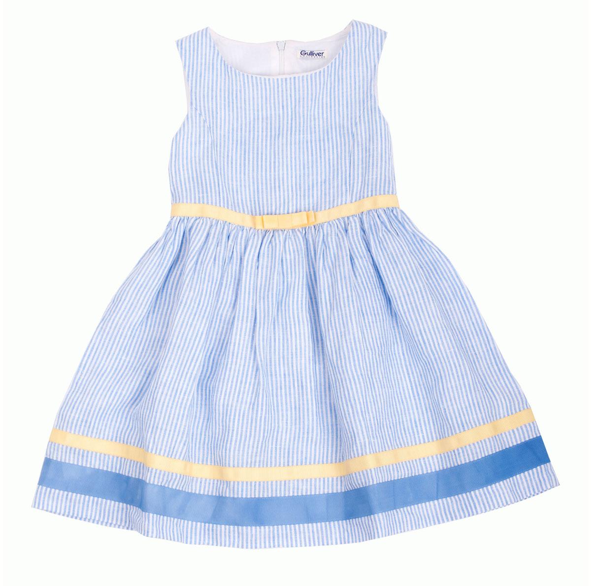 Платье для девочки Голубая стрекоза. 11602GMC250111602GMC2501Платье для девочки Gulliver Голубая стрекоза станет отличным дополнением к гардеробу вашей модницы. Платье изготовлено из натурального льна, оно легкое, приятное на ощупь, не сковывает движения и позволяет коже дышать, обеспечивая комфорт. Платье с круглым вырезом горловины застегивается на спинке на скрытую молнию, что помогает при переодевании ребенка. От линии талии заложены мелкие складочки, придающие изделию воздушность. Контрастные репсовые бейки в отделке низа и пояс с нежным бантиком делают платье ярким, свежим, запоминающимся элементом образа. Стильное платье идеально подойдет как на каждый день, так и для праздничных мероприятий. В нем каждая девочка почувствует себя настоящей принцессой и всегда будет в центре внимания!