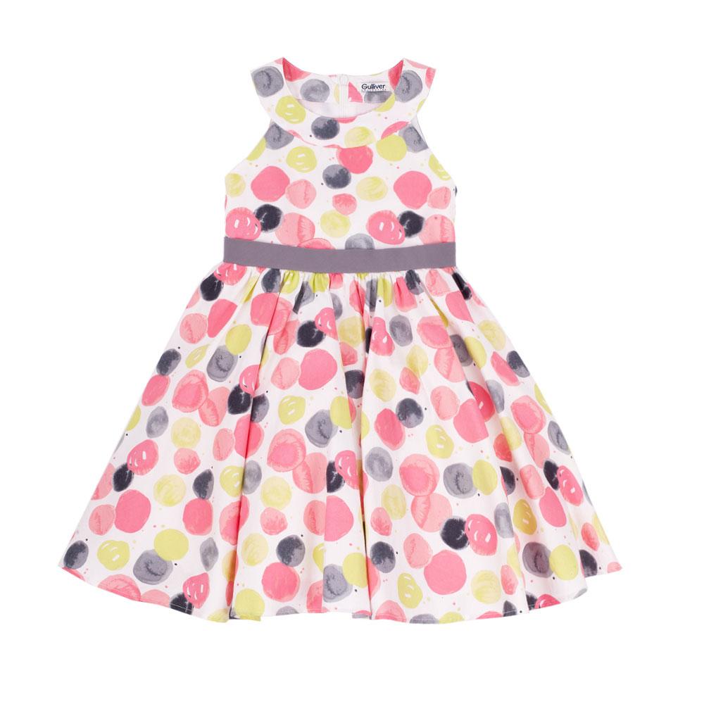 Платье для девочки Цветная прогулка. 11500GMC250511500GMC2505Платье для девочки Gulliver Цветная прогулка станет отличным дополнением к гардеробу вашей модницы. Платье изготовлено из натурального хлопка, оно мягкое и очень приятное на ощупь, не сковывает движения и позволяет коже дышать, не раздражает нежную и чувствительную кожу ребенка, обеспечивая наибольший комфорт. Платье с круглым вырезом горловины застегивается на спинке на скрытую молнию, что помогает при переодевании ребенка. Для придания платью объема и пышности, от линии талии заложены мелкие складочки, на подъюбнике предусмотрена двойная оборка из сетки. Оформлено изделие ярким разноцветным принтом. Такое красивое и стильное платье идеально подойдет как на каждый день, так и для праздничных мероприятий. В нем каждая девочка почувствует себя настоящей принцессой и всегда будет в центре внимания!