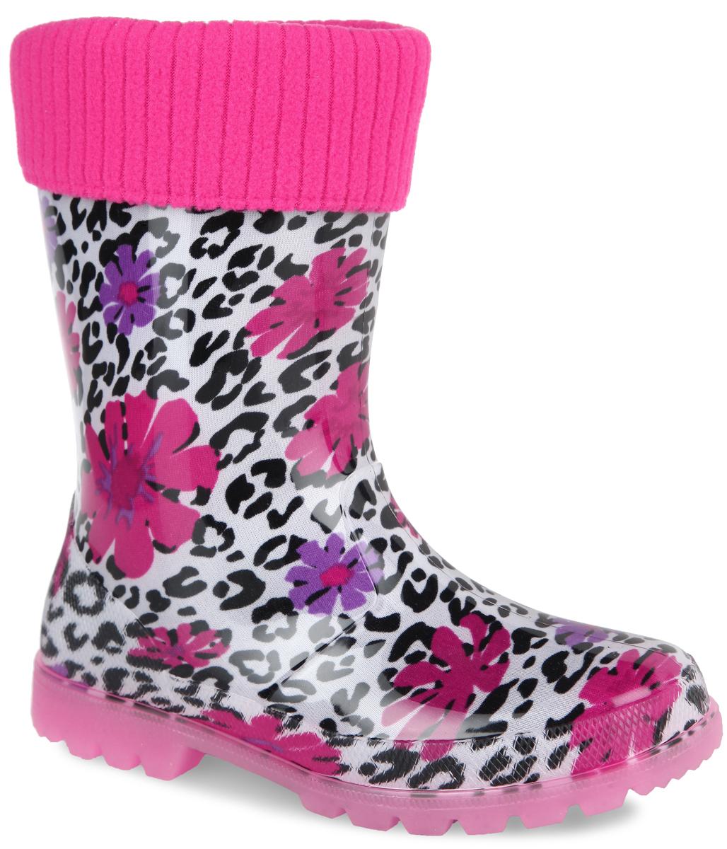 Сапоги резиновые для девочки. 697т697тРезиновые сапоги Kapika превосходно защитят ноги вашей девочки от промокания в дождливый день. Сапоги, выполненные из ПВХ, оформлены пятнистым принтом и изображениями цветов. Мягкий вынимающийся сапожок из текстильного материала не даст ногам замерзнуть. Рельефная поверхность подошвы гарантирует отличное сцепление с любой поверхностью. При движении подошва начинает светиться, благодаря чему ваш ребенок будет на виду даже в темное время суток. Резиновые сапоги прекрасно защитят ноги вашей девочки от промокания в дождливый день.