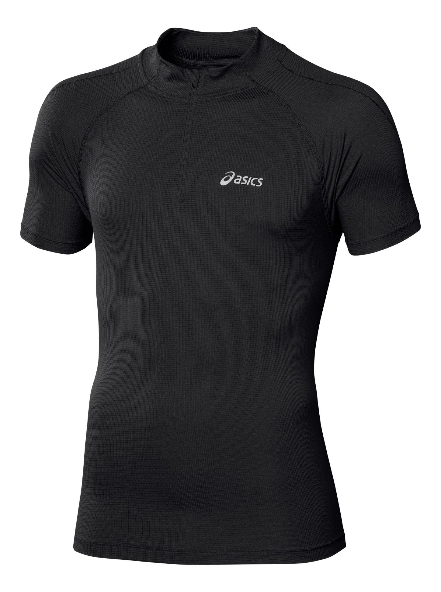 Футболка для бега мужская SS 1/2 Zip Top. 110409110409-8133Стильная мужская футболка для бега Asics SS 1/2 Zip Top, выполненная из полиэстера, обладает высокой теплопроводностью, воздухопроницаемостью и гигроскопичностью и великолепно отводит влагу, оставляя тело сухим даже во время интенсивных тренировок. Оригинальный крой с плоскими швами исключает риск натирания. Такая футболка превосходно подойдет для занятий спортом и активного отдыха. Модель с короткими рукавами-реглан и воротником-стойкой является идеальным вариантом для занятий спортом. Изделие застегивается на молнию с защитой подбородка. Такая футболка защитит вас от ветра и сделает занятия максимально комфортными. Футболка оформлена небольшими светоотражающими принтами спереди и сзади. Такая модель подарит вам комфорт в течение всего дня и послужит замечательным дополнением к вашему гардеробу.