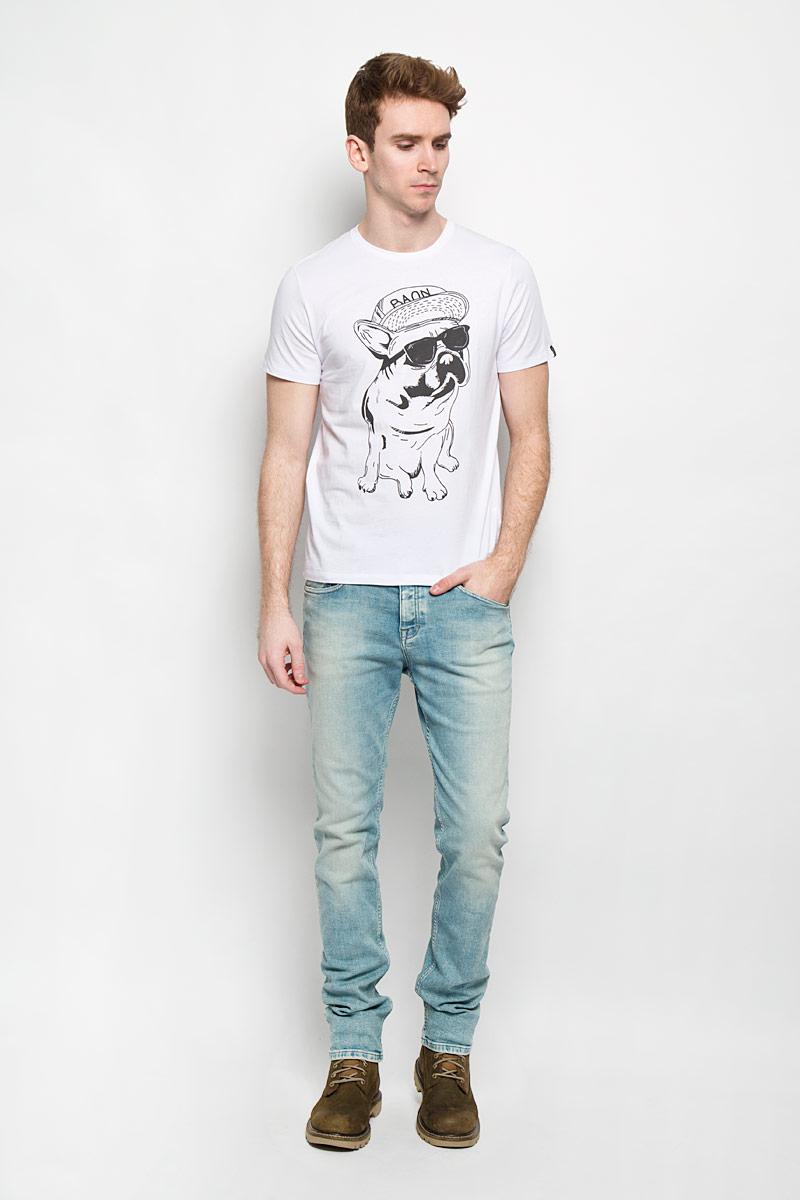 Футболка мужская. B736013B736013Стильная мужская футболка Baon обеспечивает наибольший комфорт и свободу движений в повседневной жизни. Сочетающая в себе свободный крой, удобную круглую горловину и короткие рукава, она подарит вам удобство и комфорт. 100% хлопок обеспечивает оптимальный микроклимат. Модель декорирована принтом в виде собаки в очках. В такой футболке вы будете чувствовать себя раскованно и непринужденно.