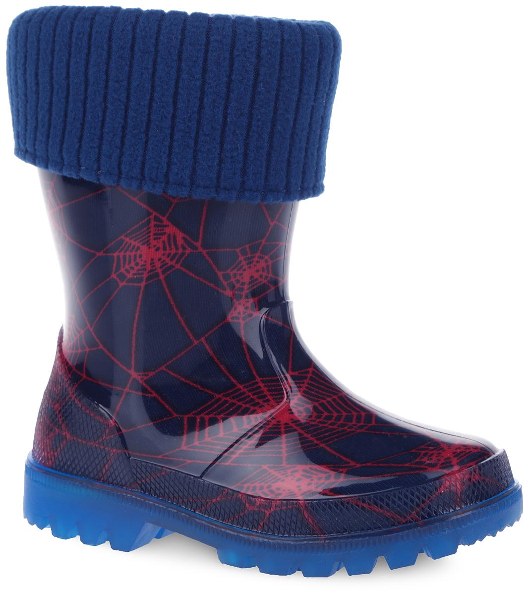 Сапоги резиновые для девочки. 690т690тРезиновые сапоги от Kapika превосходно защитят ноги вашей девочки от промокания в дождливый день. Модель выполнена из ПВХ и оформлена оригинальным принтом паутина. Мягкий вынимающийся сапожок из утепленного текстильного материала - хлопка (80%) не даст ногам замерзнуть и обеспечит уют. Рельефная поверхность подошвы гарантирует отличное сцепление с любой поверхностью. При движении подошва начинает светиться, благодаря чему ваш ребенок будет на виду даже в темное время суток. Резиновые сапоги - идеальная обувь в дождливую погоду.