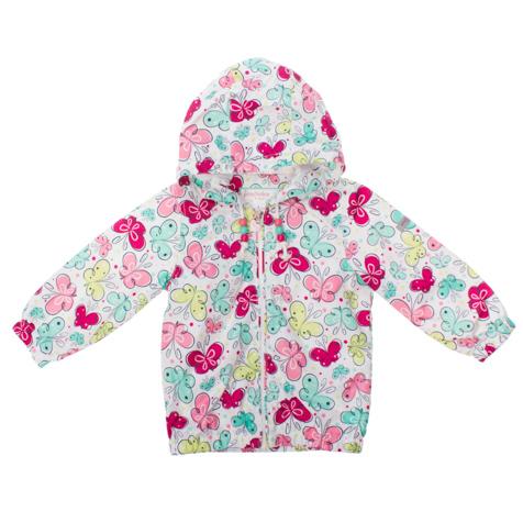 Ветровка168051Очаровательная ветровка для девочки PlayToday Baby идеально подойдет вашей дочурке. Куртка изготовлена из водоотталкивающей и ветрозащитной ткани на хлопковой подкладке. Куртка с капюшоном застегивается на пластиковую застежку-молнию и дополнительно имеет защиту подбородка. Капюшон не отстегивается и дополнен скрытым шнурочком с цветными бусинами. Низ рукавов дополнен широкими эластичными манжетами, которые мягко обхватывают запястья, не позволяя просачиваться холодному воздуху. Понизу модель также дополнена широкой эластичной резинкой, препятствующей попаданию холодного воздуха. Оформлена курточка ярким принтом с изображением бабочек. Комфортная и удобная куртка идеально подойдет для прогулок и игр на свежем воздухе. В ней ваша дочурка всегда будет в центре внимания!
