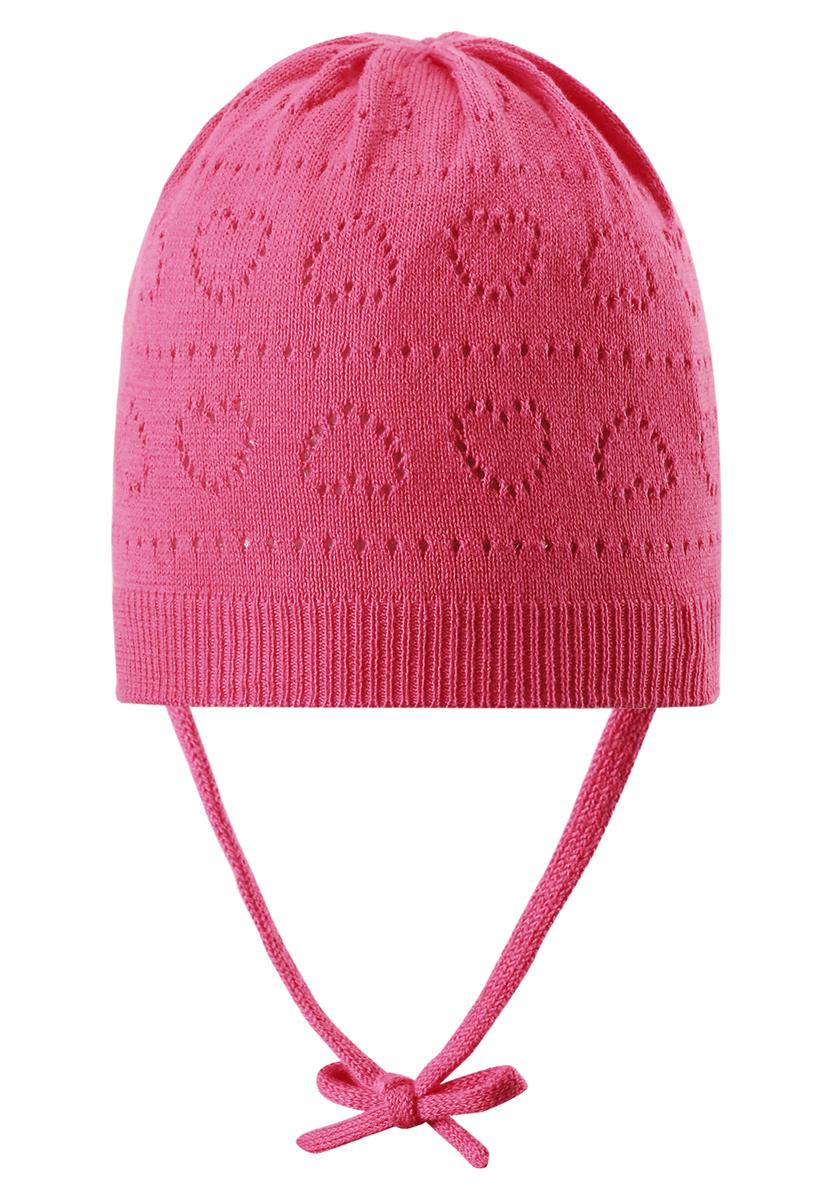 Шапка детская518345_0100Классическая шапка для девочки Reima Mellow идеально подойдет для прогулок маленькой принцессе. Изделие изготовлено из натуральной хлопковой пряжи, необычайно мягкое и приятное на ощупь, позволяет коже дышать. Благодаря эластичной вязке, шапка идеально прилегает к голове ребенка. Шапочка дополнена завязками, фиксирующимися под подбородком. Край изделия связан широкой резинкой. Модель оформлена вязаным ажурным узором с изображением сердечек. Сзади предусмотрена небольшая нашивка с логотипом бренда. Современный дизайн и расцветка делают эту шапку модным и стильным предметом детского гардероба. В ней ребенку будет уютно и комфортно. Уважаемые клиенты! Размер, доступный для заказа, является обхватом головы.