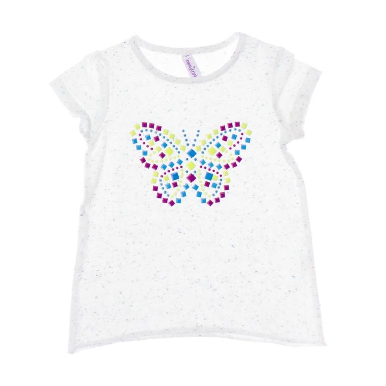 Футболка для девочки. 162158162158Стильная футболка для девочки PlayToday идеально подойдет вашей дочурке. Изготовленная из натурального хлопка, она мягкая и приятная на ощупь, не сковывает движения и позволяет коже дышать, не раздражает даже самую нежную и чувствительную кожу ребенка, обеспечивая наибольший комфорт. Футболка с короткими рукавами и круглым вырезом горловины оформлена спереди аппликацией из металлических элементов в виде бабочки. Горловина дополнена мягкой эластичной бейкой. Низ изделия не обработан. Современный дизайн и модная расцветка делают эту футболку стильным предметом детского гардероба. В ней ваша дочурка будет чувствовать себя уютно и комфортно и всегда будет в центре внимания!