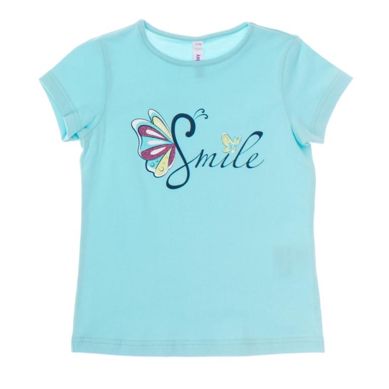 Футболка для девочки. 162168162168Стильная футболка для девочки PlayToday идеально подойдет вашей дочурке. Изготовленная из эластичного хлопка, она мягкая и приятная на ощупь, не сковывает движения и позволяет коже дышать, не раздражает даже самую нежную и чувствительную кожу ребенка, обеспечивая наибольший комфорт. Футболка с короткими рукавами и круглым вырезом горловины спереди оформлена водным принтом в виде надписи Smile и глиттерным принтом в виде бабочек. Горловина дополнена мягкой эластичной бейкой. Современный дизайн и модная расцветка делают эту футболку стильным предметом детского гардероба. В ней ваша дочурка будет чувствовать себя уютно и комфортно и всегда будет в центре внимания!