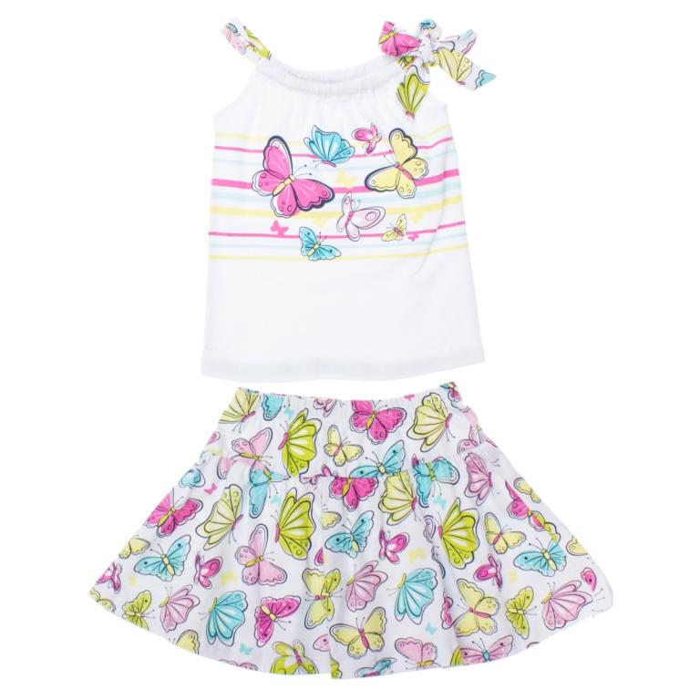 Комплект одежды для девочек. 162172162172Комплект из майки и легкой юбки. Майка украшена мягким водным принтом, завязка регулируются по размеру. Юбка с бабочкмаи смотрится очень нежно и женственно. Пояс на мягкой резинке.