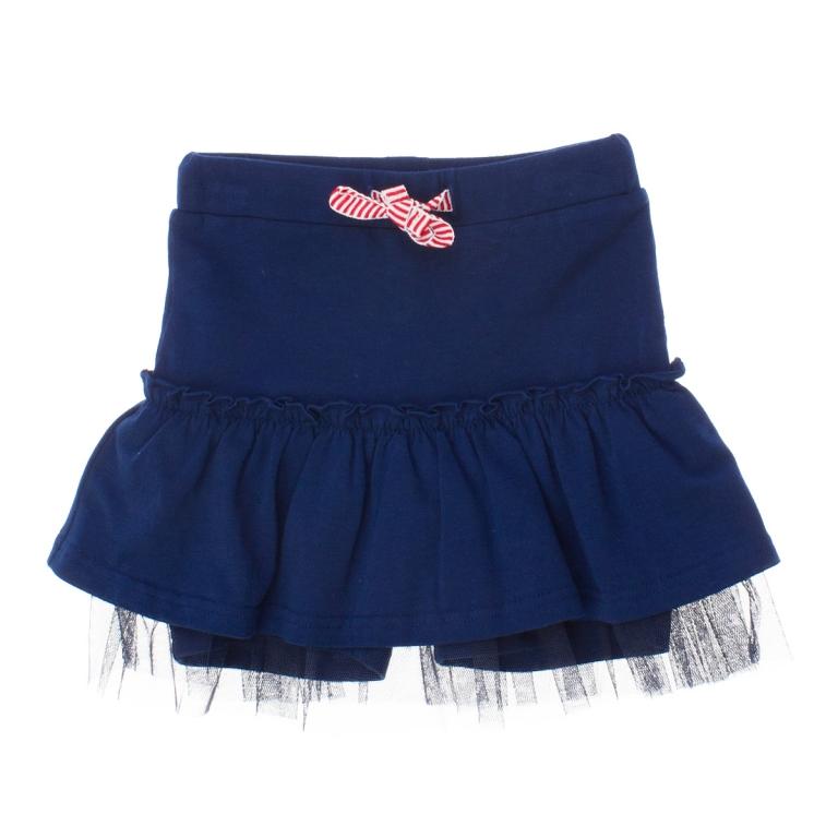 Юбка-шорты для девочек. 169007169007Юбка-шорты в спортивном стиле темно-синего цвета. Без карманов. На поясе широкая резинка. Ткань из органического хлопка с добавлением 5% эластана.