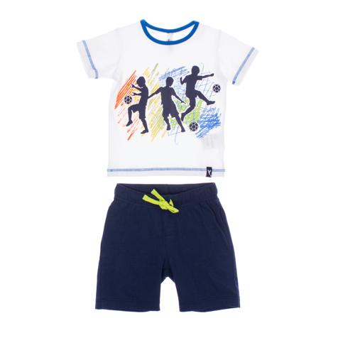 Комплект одежды для мальчиков. 160006160006Комплект из хлопковой футболки и шорт. Пояс шорт на резинке, есть шнурок для дополнительной регулировки и два кармашка. Белая футболка украшена мягким водным принтом.