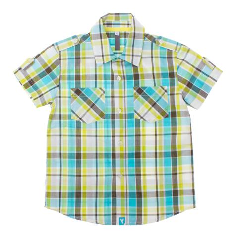 Рубашка для мальчика. 161158161158Стильная рубашка для мальчика PlayToday идеально подойдет вашему ребенку. Изготовленная из натурального хлопка, она мягкая и приятная на ощупь, не сковывает движения и позволяет коже дышать, не раздражает даже самую нежную и чувствительную кожу ребенка, обеспечивая ему наибольший комфорт. Рубашка с короткими рукавами и отложным воротником застегивается по всей длине на пуговицы. На груди изделие дополнено двумя накладными кармашками. На плечах и рукавах имеются хлястики с пришитыми пуговицами. Низ модели закруглен к боковым швам. Оформлена модель принтом в цветную клетку. Такая рубашка будет прекрасно смотреться с брюками и джинсами. Она станет отлично дополнением детского гардероба.