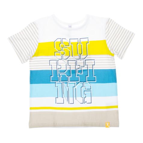 Футболка для мальчика. 161163161163Стильная футболка для мальчика PlayToday идеально подойдет вашему малышу. Изготовленная из эластичного хлопка, она необычайно мягкая и приятная на ощупь, не сковывает движения малыша и позволяет коже дышать, не раздражает даже самую нежную и чувствительную кожу ребенка, обеспечивая ему наибольший комфорт. Футболка с короткими рукавами и круглым вырезом горловины спереди оформлена оригинальным принтом. Вырез горловины дополнен трикотажной бейкой. Оригинальный современный дизайн и расцветка делают эту футболку модным и стильным предметом детского гардероба. В ней ваш маленький мужчина будет чувствовать себя уютно и комфортно и всегда будет в центре внимания!