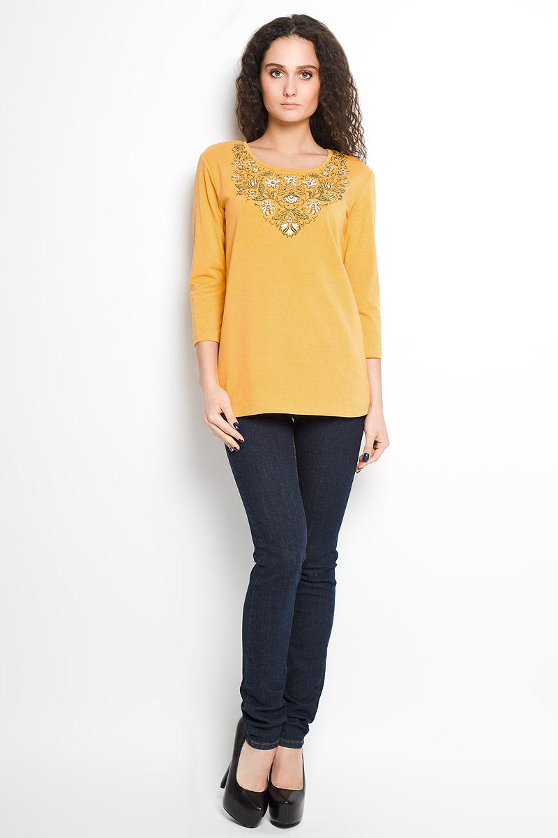 БлузкаB16-12062Стильная женская блуза Finn Flare, выполненная из эластичного хлопка, подчеркнет ваш уникальный стиль и поможет создать оригинальный женственный образ. Блузка с рукавами 3/4 и круглым вырезом горловины оформлена красочным цветочным принтом. Такая блузка идеально подойдет для жарких летних дней. Такая блузка будет дарить вам комфорт в течение всего дня и послужит замечательным дополнением к вашему гардеробу.