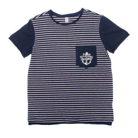 163057Темно-синяя футболка в белую полоску. Классическая морская тематика, на груди кармашек.