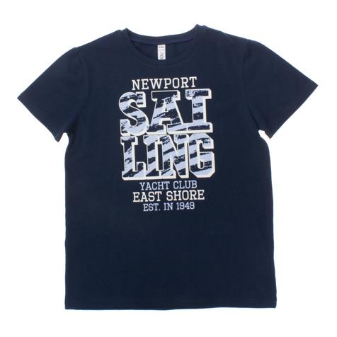Футболка для мальчиков. 163058163058Темно-синяя базовая футболка с короткими рукавами. Украшена стильным принтом.
